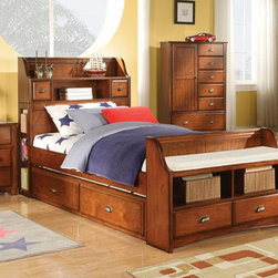 Acme Furniture - Brandon Oak Full Bed with Storage Bookcase Headboard with Trund - Brandon Collection Full Bed