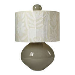 Stray Dog Designs - Stray Dog Designs Erica Glass Lamp - So, so very beautiful. The Erica has a milky gray mouth blown recycled glass base and finial. Very handsome, but it is the spectacular white on white shade that really makes this lamp. The fabric is all embroidered by the Otomi Indians in the mountains of central Mexico. The patterns will always vary but will always be magical and wonderful.