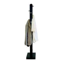 Proman Products - Bedford Coat Tree in Black Finish - 8 Push out pegs for hanging. 3.125 in. Square pole, wood veneer. Beautifully hand-crafted and hand-painted. All paints used are lead-free and non-toxic. Minimal assembly required. 14 in. L x 14 in. W x 67 in. H