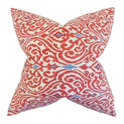 """The Pillow Collection - Ennis Ikat Pillow, Red 18"""" x 18"""" - A lovely ikat-inspired pattern in shades of red, blue and white adorns this stunning toss pillow."""
