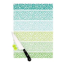 """Kess InHouse - Pom Graphic Design """"Zen Pebbles"""" Green Teal Cutting Board (11"""" x 7.5"""") - These sturdy tempered glass cutting boards will make everything you chop look like a Dutch painting. Perfect the art of cooking with your KESS InHouse unique art cutting board. Go for patterns or painted, either way this non-skid, dishwasher safe cutting board is perfect for preparing any artistic dinner or serving. Cut, chop, serve or frame, all of these unique cutting boards are gorgeous."""