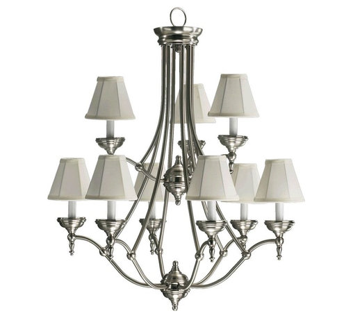 Joshua Marshal - Nine Light Satin Nickel White Fabric Shade Up Chandelier - Nine Light Satin Nickel White Fabric Shade Up Chandelier