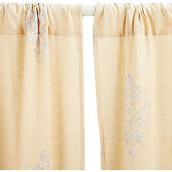 Divine Designs - Lara Embroidered Curtain - white - This curtain panel will add a vibrant and sleek style to your living room. Sold as one panel.