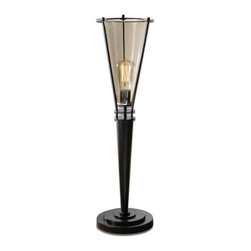 Uttermost - Uttermost Frisco Black Metal Accent Lamp 29577-1 - Rustic black metal accented with a plated cognac tinted glass hurricane. 40 watt antiqued style bulb included.