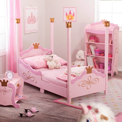 KidKraft Princess Toddler Bed, Pink - Little girls love to imagine that they're princesses, and this toddler bed will help fuel their fantasies. Decorated in pink and topped with gold crowns, this bed will make little girls feel royally special.