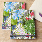 "Christian Lacroix - Large Exo-Chic Notebooks Set of 3 - Christian LacroixLarge Exo-Chic Notebooks Set of 3DetailsSet includes three flip-top reporter notebooks of the same design.Cover design features allover print of jungle palm leaves and orchids.End papers covered in dozens of technicolor butterflies.Chevron elastic closure.Gold-foil belly band with hot-stamped Christian Lacroix Paris logo.Each notebook 5.75"" x 8.25""; 160 ruled pages.Imported.Designer About Christian Lacroix:One of the most well known names in fashion Christian Lacroix lends distinctive style to one-of-a-kind accessories. With fun splashes of color and quilted detail Christian Lacroix shoulder bags totes and small goods display signature French flair."