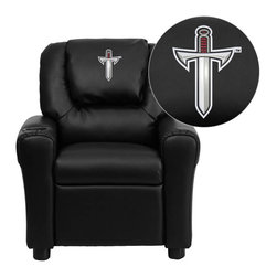 """Flash Furniture - Troy University Trojans Black Leather Kids Recliner with Cup Holder and Headrest - Get young kids in the college spirit with this embroidered college recliner. Kids will now be able to enjoy the comfort that adults experience with a comfortable recliner that was made just for them! This chair features a strong wood frame with soft foam and then enveloped in durable leather upholstery for your active child. This petite sized recliner is highlighted with a cup holder in the arm to rest their drink during their favorite show or while reading a book. Troy University Embroidered Kids Recliner; Embroidered Applique on Oversized Headrest; Overstuffed Padding for Comfort; Easy to Clean Upholstery with Damp Cloth; Cup Holder in armrest; Solid Hardwood Frame; Raised Black Plastic Feet; Intended use for Children Ages 3-9; 90 lb. Weight Limit; CA117 Fire Retardant Foam; Black LeatherSoft Upholstery; LeatherSoft is leather and polyurethane for added Softness and Durability; Safety Feature: Will not recline unless child is in seated position and pulls ottoman 1"""" out and then reclines; Safety Feature: Will not recline unless child is in seated position and pulls ottoman 1"""" out and then reclines; Overall dimensions: 24""""W x 21.5"""" - 36.5""""D x 27""""H"""