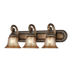 Dolan Designs - Dolan Designs 3493 3 Light Verona Bath Fixture from the Carlyle Collection - Dolan Designs 3493 Renaissance 3 Light Verona Bath Fixture from the Carlyle CollectionThe Carlyle Collection combines aged Amber glass with bold colors and lustrous bell shaped shades. This three light bath fixture has polished shades and a suitable fit for a variety of decorating styles, yet providing your home a pristine, Renaissance experience.Features: