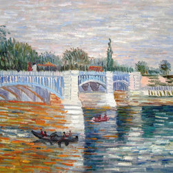 """overstockArt.com - Van Gogh - The Seine With the Pont de la Grande Jatte Summer - 20"""" X 24"""" Oil Painting On Canvas Hand painted oil reproduction of a famous Van Gogh painting, The Seine With the Pont de la Grande Jatte Summer . The original masterpiece was created in 1887. Today it has been carefully recreated detail-by-detail, color-by-color to near perfection. Vincent Van Gogh's restless spirit and depressive mental state fired his artistic work with great joy and, sadly, equally great despair. Known as a prolific Post-Impressionist, he produced many paintings that were heavily biographical. This work of art has the same emotions and beauty as the original. Why not grace your home with this reproduced masterpiece? It is sure to bring many admirers!"""