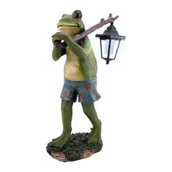 Zeckos - Frog Carrying Lantern on Stick Solar Light Outdoor Garden Accent - Add a whimsical accent to your garden, path, or doorstep with this outdoor statue. It features a funny frog, hanging out in his bathing suit, carrying a lantern on his trek through your yard or down a path. Made of cold cast resin, it measures 20 1/2 inches tall, 6 1/2 inches wide, and 12 1/2 inches deep. Three small solar panels charge the 6 1/2 inch lantern all day, and there is an on/off switch so you can control the light. This outdoor statue makes a great housewarming gift for frog collectors, and is sure to be admired. NOTE: The stick is packaged separately on the outside of the styrofoam.