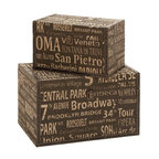 Benzara - Classic Old Time Wood Leather Box - Set of 2 16in., 12in.W - Size: Large: 16 Wide x 10 Depth x 10 High, Small: 12 Wide x 6 Depth x 6 High (Inches)