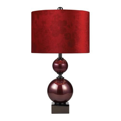 Dimond - One Light Cherry Glass And Black Nickel Table Lamp - One Light Cherry Glass And Black Nickel Table Lamp