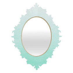 DENY Designs - Social Proper Mint Ombre Baroque Mirror - As we like to say around here, if it ain't baroque, don't hang it! With a sleek mix of baltic birch ply trim that's unique to each piece and a glossy aluminum frame, the baroque mirrors collection bumps your stylish reflection up a notch. Custom made in the USA for every order.