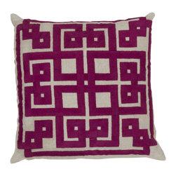 "Surya - Surya 18 x 18 Decorative Pillow, Oatmeal and Raspberry (LD008-1818P) - Surya LD008-1818P 18"" x 18"" Decorative Pillow, Oatmeal and Raspberry"