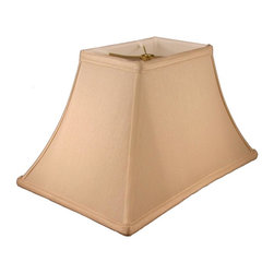 American Heritage Shades - Rectangle Bell Lampshade in Honey Beige (18 in. Diam x 12 in. H) - Choose Size: 18 in. Diam x 12 in. HLampshade Types. Shantung faux silk with off-white fabric liner. Hand made. Matching top, bottom and vertical trim. Fitter type: 0.5 in. drop and washer for harp fitter. Enhances lamp and room decor. Made from polyester and fabric. Fitter in brass color. Made in USA. No assembly required