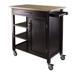 Winsome Wood - Mali Kitchen Cart - One large drawer. Three shelves. One removable shelf. Made from solid and composite wood. Beech and espresso finish. Assembly required. Door opening: 13.22 in.. Drawer inside: 24.8 in. W x 13.31 in. D x 2 in. H. Shelf: 12.83 in. W x 15.75 in. D. Top: 33 in. W x 18.5 in. D. Cabinet: 13.39 in. W x 14.72 in. D x 22.44 in. H. Overall: 36 in. W x 18.5 in. D x 34.61 in. H