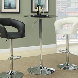 Coaster - Adjustable Bar Table - Easy to adjust in height, this black and chrome bar table is perfect for entertaining. Match this table with a black or white bar stool.