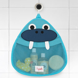 "3 Sprouts - 3 Sprouts Walrus Bath Storage - 3 Sprouts delivers playful personality to the home with practical, critter-themed products the whole family can enjoy. The Walrus bath storage makes a functional companion for a child's wash time. Spacious and stylish, this shower caddy showcases a fun animal shape in blue, navy blue, black and white. A large polyester mesh pocket provides ample space for holding shampoo and soap, while a non-slip suction cup hangs on tile or glass shower surfaces. Made from neoprene. Hand wash. 14.5""W x 15""H."