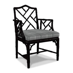 Jonathan Adler Chippendale Arm Chair - One classic from British furniture design is the Chinese Chippendale chair. Named after the 18th Century British cabinet maker who pioneered the style, these chairs feature lacquer and latticework. A favorite of mine is Jonathan Adler's version, which comes in dozens of colors. I'd love to use this black lacquer and gray check version in an all-white dining room or with a white desk in an elegant office.