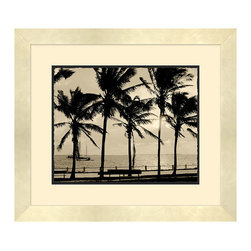 Frontgate - Biscayne Bay I - Deckled edge on bottom mat adds softness. Brushed champagne frame. Arrives ready to hang. The expanse of sea and sky lies just beyond the silhouetted palm trees in our Biscayne Bay artwork. This imagery is perfect for a coastal home or for those wanting to bring serenity to their inland residence. .  .  .
