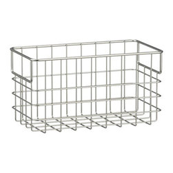 Small Wire Basket - Modern, easy-access storage in open weave steel wire basket with a matte nickel finish. Wide handles for easy portability. These wire baskets provide storage for a wide variety of items and fit with any style. Use them with or without the basket liner for a custom look that's all your own.
