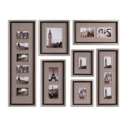 Uttermost - Uttermost Massena Photo Collage Wall Art (Set of 7) - Uttermost Massena Photo Collage is a Part of Grace Feyock Designs Collection by Uttermost This collection of frames features a lightly antiqued silver leaf finish with a matte black liner. Photos are surrounded by oatmeal linen mats. May be hung horizontal or vertical. Holds photo sizes:11-4x6, 1-8x10, 4-5x7 Frame sizes:13x40, 15x16, 11x27, 2- Metal Wall Art (7)