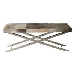 Long Gray Faux Pony Bench | Pulp Home - Natural meets modern in this cool grey faux pony hide bench with chrome legs. FINISH: Grey Faux-Pony Seat, Chrome Legs