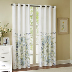 """Madison Park - Madison Park Solange Floral Watercolor Window Curtain - Add a soft splash of color in any room with this floral watercolor window panel. The off white cotton adds a simple and casual base to the panel, while the floral watercolor adds a refreshing colorful touch. The beautiful blend of blue and green will lighten any room. Grommet Top detail makes it easier to hang and style. Fits up to 1.25"""" diameter rod. 100% cotton duck, grommet top."""