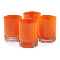 Kathy Kuo Home - Vistula Global Bazaar Orange Double Old Fashioned Glasses - Set of 4 - Double your dose of style with these handsome double old fashioned glasses. With hand blown, cased glass from Poland, each glass gracefully holds your cocktail of choice. Finished in opaque orange, the pieces evoke a bright, refreshing element.
