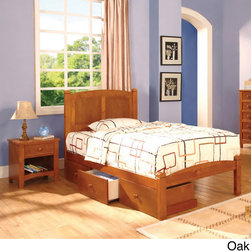 Furniture of America - Furniture of America Lancaster Full-size Bed/ Underbed Drawers/ Night Stand Set - Located at the intersection of traditional and contemporary design,the Lancaster Bedroom set features sturdy wood construction. This set includes a panel headboard with a low footboard,set of three bottom drawers and a nightstand.
