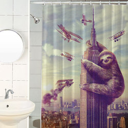 Slothzilla Shower Curtains - Dan Lachman