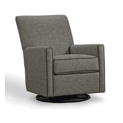 Younger - Lucy Swivel Glider Chair - In her boxy gray suit with hip black piping, Lucy knows how to make a smart impression. But she also knows how to relax at the end of the day. Kick back with her and you'll be swiveling and gliding into the evening, drink in hand.