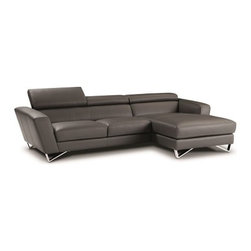 JNM Furniture - Sparta MINI Italian Leather Sectional in Gray, Left Facing Chaise - The best selling Sparta Modern Italian Leather sectional is now available in a new smaller design! The Sparta mini is a fashionable, modern, and available in dark gray Italian leather. Seats and backs have high density foam to give you extra comfort and support. This stunning sectional features stainless steel legs and adjustable headrests.