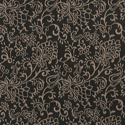 Black, Contemporary Floral Designed Woven Upholstery Fabric By The Yard - This material is an upholstery grade jacquard fabric. It is lightweight, but is rated heavy duty and upholstery grade.