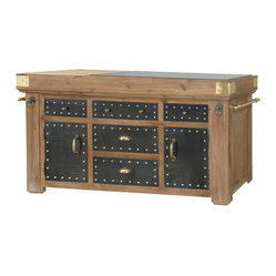 Four Hands - Large Kitchen Island - The mixed media used in this kitchen island make it stand apart from a sea of marble and granite. Detailed carvings and bold hardware have been added by master craftsmen to give the piece a grand look evoking a sense of history and meaningful character. It's sure to be the center of your hearth and home.