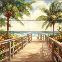 The Tile Mural Store (USA) - Tile Mural - I'M Going To The Beach - Kitchen Backsplash Ideas - This beautiful artwork by Laurie Snow Hein has been digitally reproduced for tiles and depicts a walkway leading to the beach.  Beach scene tile murals are great as part of your kitchen backsplash tile project or your tub and shower surround bathroom tile project. Waterview images on tiles such as tiles with beach scenes and sunset scenes on tiles.  Tropical tile scenes add a unique element to your tiling project and are a great kitchen backsplash  or bathroom idea. Use one or two of our beach scene tile murals for a wall tile project in any room in your home for your wall tile project.