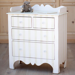 Harry's Changing Dresser - Cottage Collection - Harry's Changing Dresser lends casual elegance in the nursery or baby's room with a beautifully carved frame. The classic children's chest features four spacious storage drawers below its bordered rectangular table top. Consider our optional stripe finish such as Sage Cream with Vintage Pink or White Linen with Baby Blue. Our Cottage Collection offers painted furnishings that are designed to look as though they have been around for years – distressed, worn and antiqued with a warm, rich and weathered feel. Each furniture piece is crafted and finished by hand using Sugar Pine Wood that reflect hours of hand rubbing and is sealed and protected with clear, flat lacquer. All pieces are made in the U.S.A. using Solid Wood Only including the bottom of every drawer to the back slats on all pieces.
