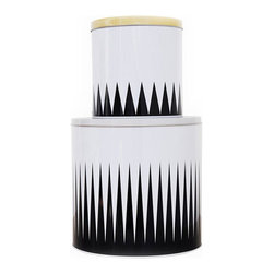 Spire Tin Boxes - I just love the simplicity in the design of these black and white tin boxes.