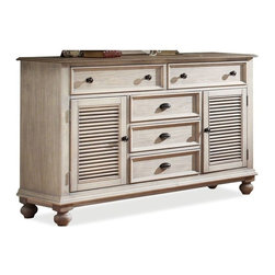 Riverside Furniture - Coventry Dresser with 2 Doors (Weathered Driftwood and Dover White) - Finish: Weathered Driftwood and Dover White
