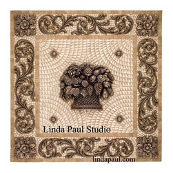 Fruit Basket Mosaic Tile Medallion with metal accents - Linda Paul Studio - Fruit basket tile medallion mosaic backsplash with travertine tile and bronze decorative metal accents. Also available with studded brackets instead of scroll border. In 16 different metal finishes and 7 stone colors. The metal accent pieces are also sold separately
