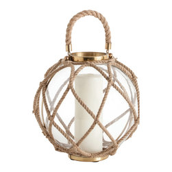Kathy Kuo Home - Cormac Cottage Large Jute Coastal Beach Glass Globe Candle Lantern - This beach-themed glass rope lantern will cast a circle of warm light on all that surrounds it.  With upscale touches of antique brass and natural crisscrossed jute ropes, this lantern is equally at home inside your country cottage or hanging on the bow of a ship.