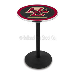 Holland Bar Stool - Holland Bar Stool L214 - Black Wrinkle Boston College Pub Table - L214 - Black Wrinkle Boston College Pub Table belongs to College Collection by Holland Bar Stool Made for the ultimate sports fan, impress your buddies with this knockout from Holland Bar Stool. This L214 Boston College table with round base provides a commercial quality piece to for your Man Cave. You can't find a higher quality logo table on the market. The plating grade steel used to build the frame ensures it will withstand the abuse of the rowdiest of friends for years to come. The structure is powder-coated black wrinkle to ensure a rich, sleek, long lasting finish. If you're finishing your bar or game room, do it right with a table from Holland Bar Stool. Pub Table (1)
