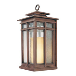 "Troy - Country - Cottage Cottage Grove Collection 24 1/2"" High Outdoor Wall Light - The Cottage Grove outdoor collection from Troy Lighting offers refined appealing style that's a great match for many homes. The frame comes in a beautiful cottage bronze finish. Clear seeded glass panes combine with an amber scavo glass inner cylinder to create a beautiful glow. A warm inviting look for your exterior. Cottage bronze finish. Clear seeded/amber scavo glass. Takes one 100 watt bulb (not included). 24 1/2"" high. 11 1/2"" wide. Extends 12 1/4"" from the wall. 11 1/2"" from mounting point to top.  Cottage bronze finish.   Clear seeded/amber scavo glass.   From the Troy Lighting collection.  Takes one 100 watt bulb (not included).   24 1/2"" high.   11 1/2"" wide.   Extends 12 1/4"" from the wall.   11 1/2"" from mounting point to top."