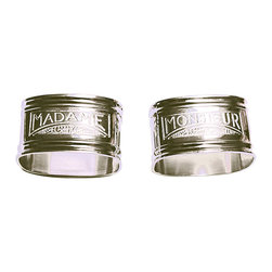 Madame and Monsieur Napkin Ring - Set of 6 - A newlywed gift that combines the faintly wry nostalgia of traditional his-and-hers presentations with touching elegance, or simply a Parisian element in the table setting for an intimate brunch, the silver Madame and Monsieur Napkin Rings are engraved with Art Deco-inspired transitional labels - seating assignments for the ladies and the gentlemen of your dining party.