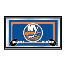 Trademark Global - Framed NHL New York Islanders Team Logo Mirro - Add style to your game room or bar area decor while showing support for your favorite team with this striking New York Islanders framed wall mirror, featuring the team colors and logo. The mirror would be perfect in a teen's room or as part of any recreational area decor, and features a black wrapped wood frame. Great for gifts and recreation decor. Mirror with print. Black wrapped wood frames. 26 in. W x 15 in. H (10 lbs.)This National Hockey League Officially Licensed Team Logo Wall Mirror is the perfect gift for the Hockey Fan in your life.