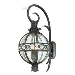 Troy Lighting - Troy Lighting Campanile Traditional Outdoor Wall Sconce X-BC4005B - This Troy Lighting Campanile Traditional Outdoor Wall Sconce is a unique piece with an interesting design. It features a hand-forged iron frame in a campanile bronze finish with prominent scroll work and a spherical, clear, seedy glass diffuser. It's an amazing, four-light, 35.5-inch-tall fixture that's sure to enhance the look of any outdoor space.
