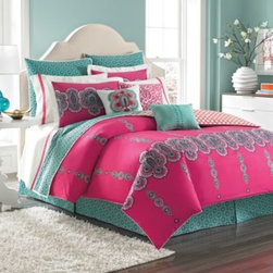 Laundry By Shelli Segal - Laundry by Shelli Segal Shiva Duvet Cover - The Shiva duvet cover by Shelli Segal brings a romantic touch of India into your bedroom with intricate mandalas in a vivid combination of magenta and turquoise. Rotary print and piping around the perimeter finishes this duvet cover off in style.