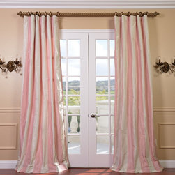 EFF - Light Pink/Cream Stripe Faux Silk Taffeta Curtain Panel - Update the look of any room with this sheer curtain panel. The light pink and cream striped curtains are made from faux silk taffeta,which gives them an elegant and timeless look. The rod pocket construction makes the curtains easy to hang.