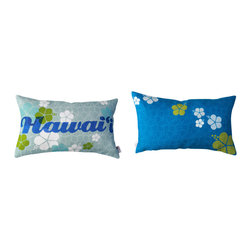 Kaypee Soh - Hawaii Lumbar Pillow - Indigo - Hawaii - Inspired by Hawaii's retro glory days, the Hawaii lumbar is perfect for a gift or a splash of cheerin that get-away guest room you secretly wish was yours.