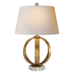 Metal Banded Table Lamp - Add a glamorous touch to your office or living room with a gilded-iron table lamp. The shape and size is perfect for reading, while casting a warm glow throughout your room. Pair them up on a side table or bring one in for an elegant look.